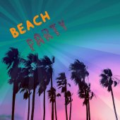 Beach party style. Flyer design. Palm minimal fashion
