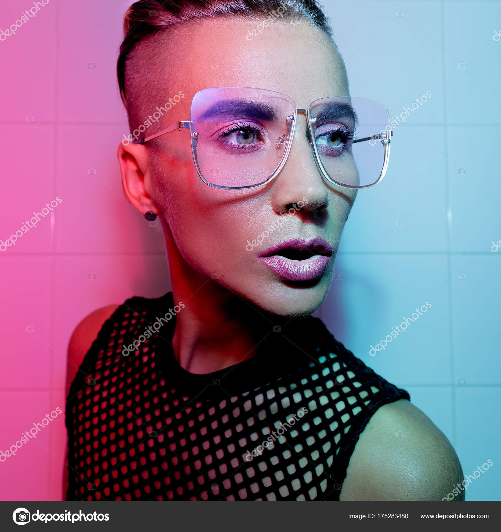 Tomboy Sexy Girl With Short Hair And Luxury Glasses Fashion Par
