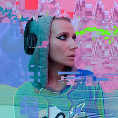 Tomboy Girl in stylish headphones. Clubbing DJMood.ContemporaryG