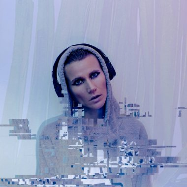 Girl in stylish headphones. Clubbing Dj life Contemporary Glitc