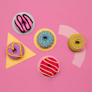 Donuts Lover Set.  Flat lay candy minimal vanilla pink art stock vector