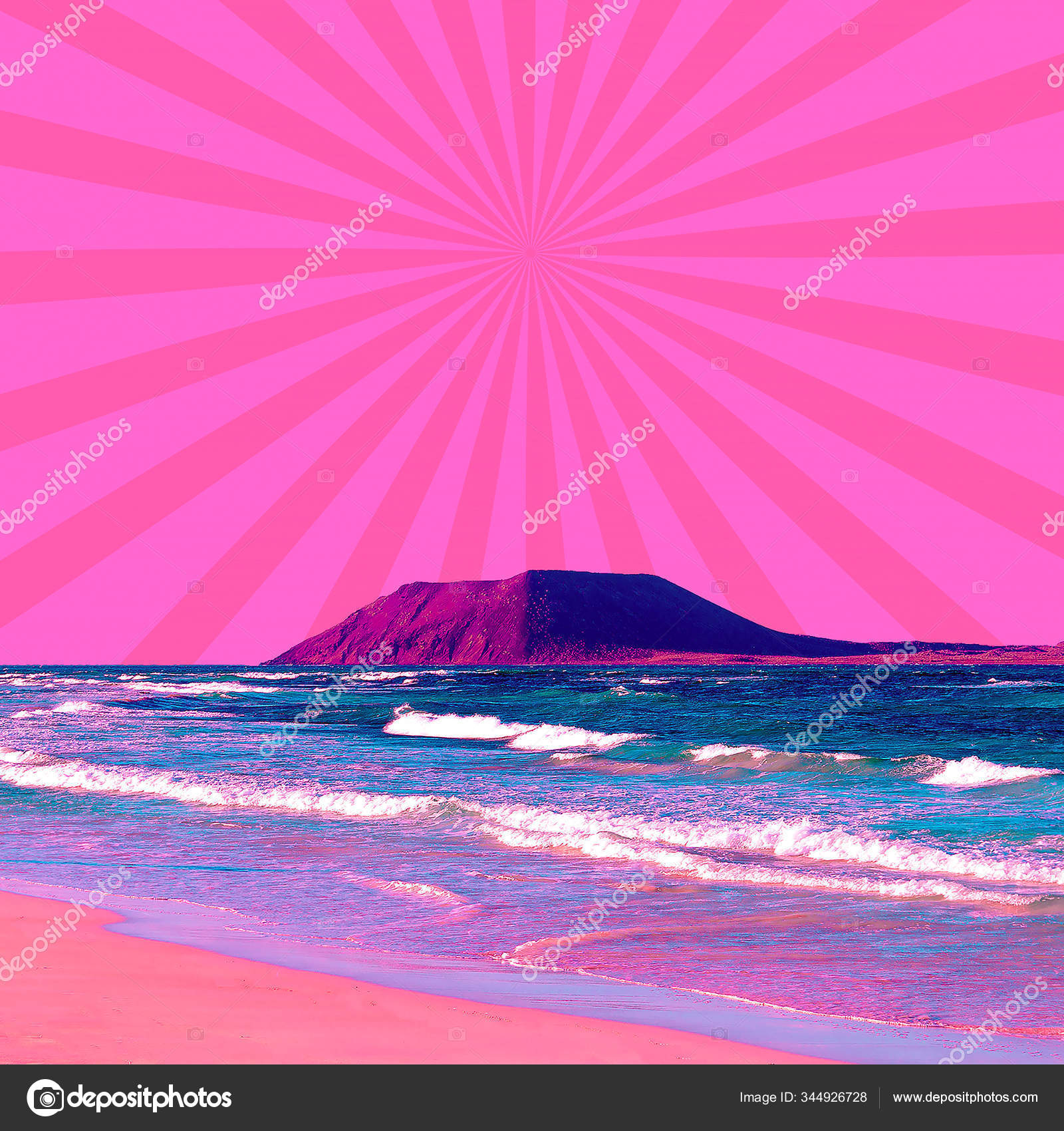 Aesthetic Collage Wallpaper Beach Ocean View And Geometry Mix Stock Photo Image By C Porechenskaya 344926728