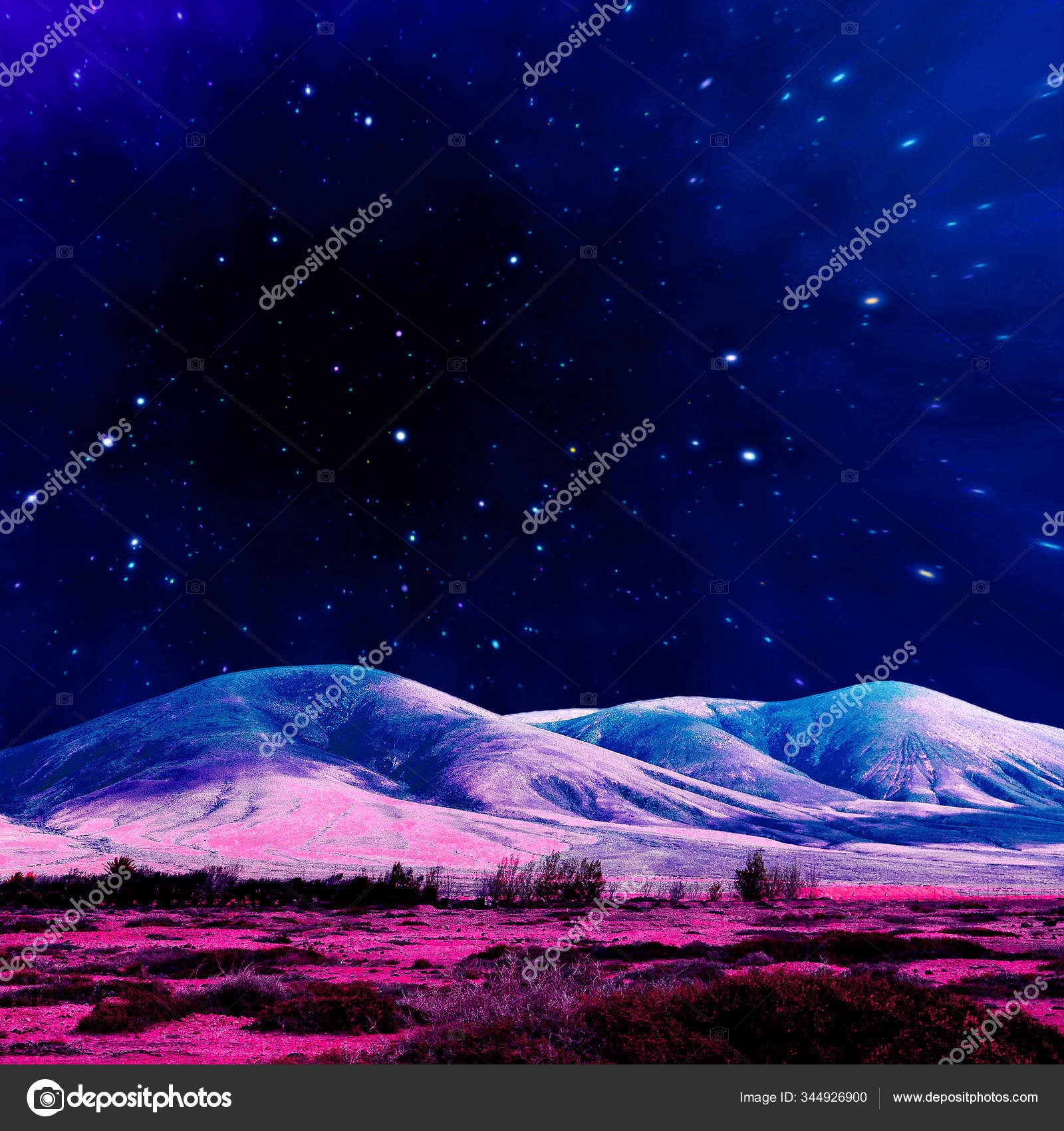Aesthetic Collage Wallpaper Mountains And Starry Cosmic Sky