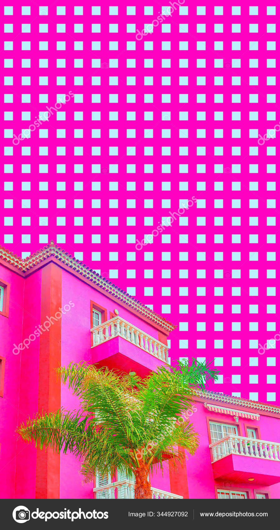 Aesthetic Collage Wallpaper Pink And Tropical Palm Mood Stock