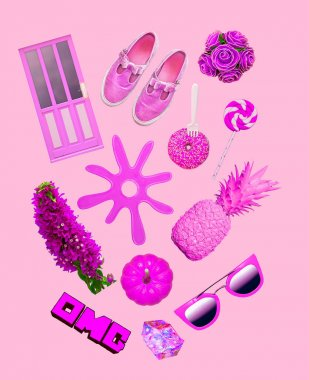 Pink colour art collage kit. Fashion aesthetic  set