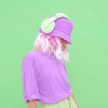 Fresh Summer Dj Girl. Monochrome vanilla Party style.  Minimal design trends