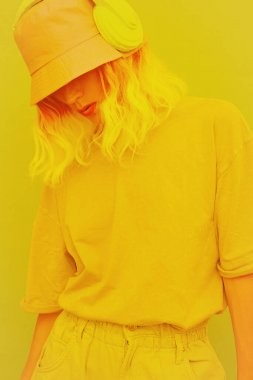 Fresh Summer Dj Girl. Monochrome Minimal design trends. Yellow aesthetic