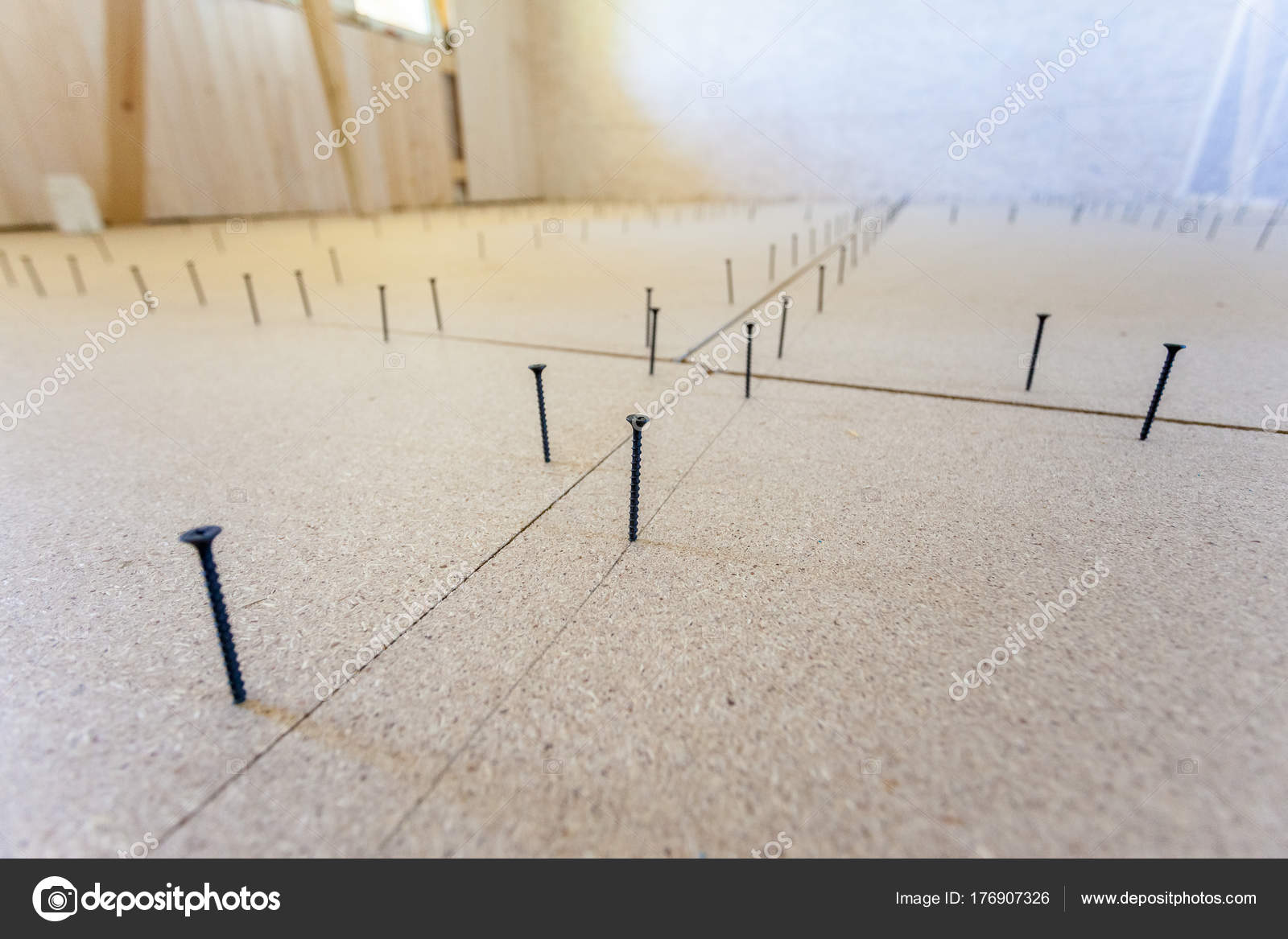 Floor Installation Particle Board S Stock Photo