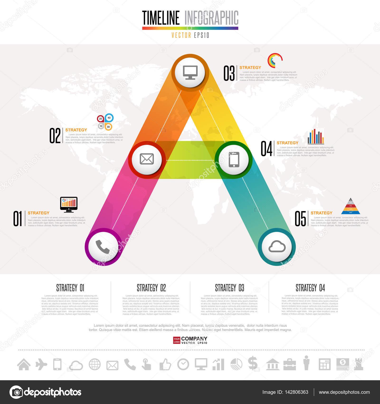 timeline infographics with nasa icons stock vector kanate 142806363