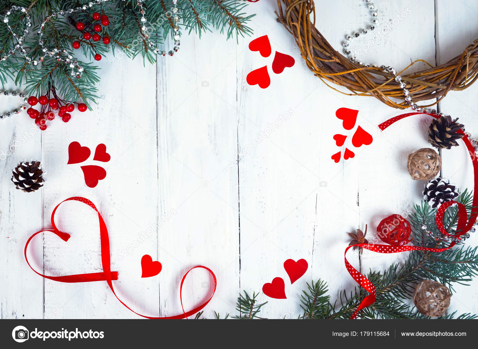 Valentines Day Background Hearts And Branches Of A Christmas Tree