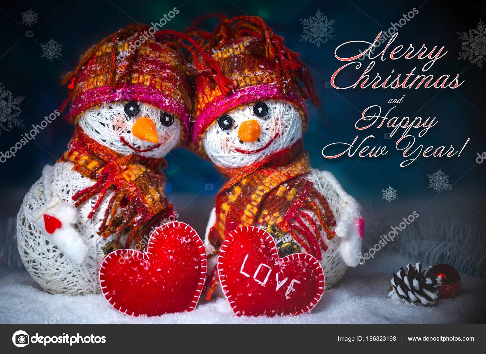 Love Snowmen Snowfall Love Concept Greeting Card Merry Christmas
