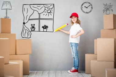 Child Home Moving Day Concept