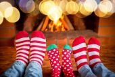 Füße in warme Weihnachten Socken