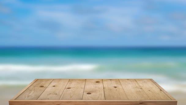Fa asztal szabadtéri strand tengeri háttér.
