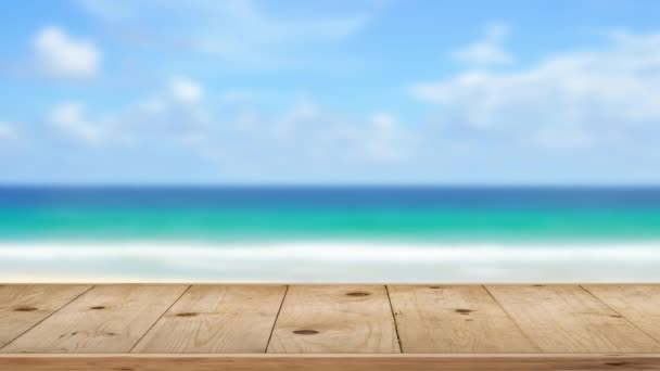Wood table on outdoor beach sea background.