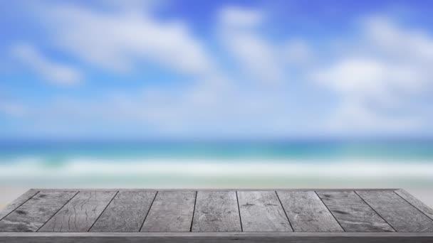 Kültéri asztali fa textúra a tengerparton tenger háttér, 4k Uhd. Videoklip.