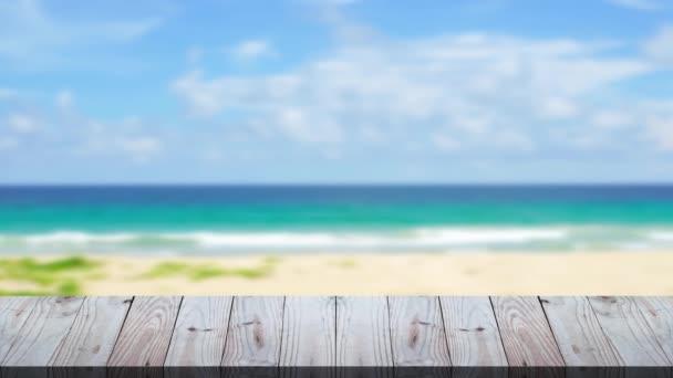 Stůl na venkovní plážové zázemí, Dřevěné textury v létě na pláži