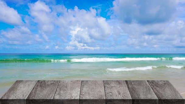 Fa asztal szabadtéri strand tengeri háttér