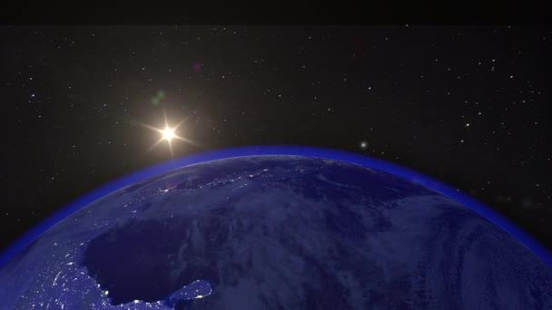 Nádherná světová obloha při východu slunce. Planeta Země z vesmíru. Planeta Země rotující animace. Klip obsahuje prostor, planetu, galaxii, hvězdy, vesmír, moře, zemi, západ slunce, zeměkouli. 4k 3D Render. Obrázky z NASA, Ve vesmíru na černém pozadí
