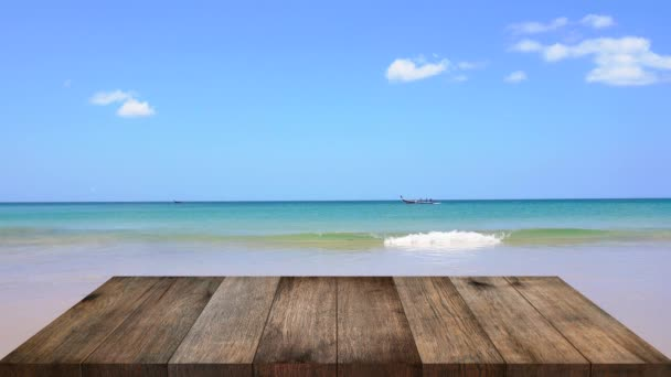 Top Wood Table Kültéri tengerparti háttér.