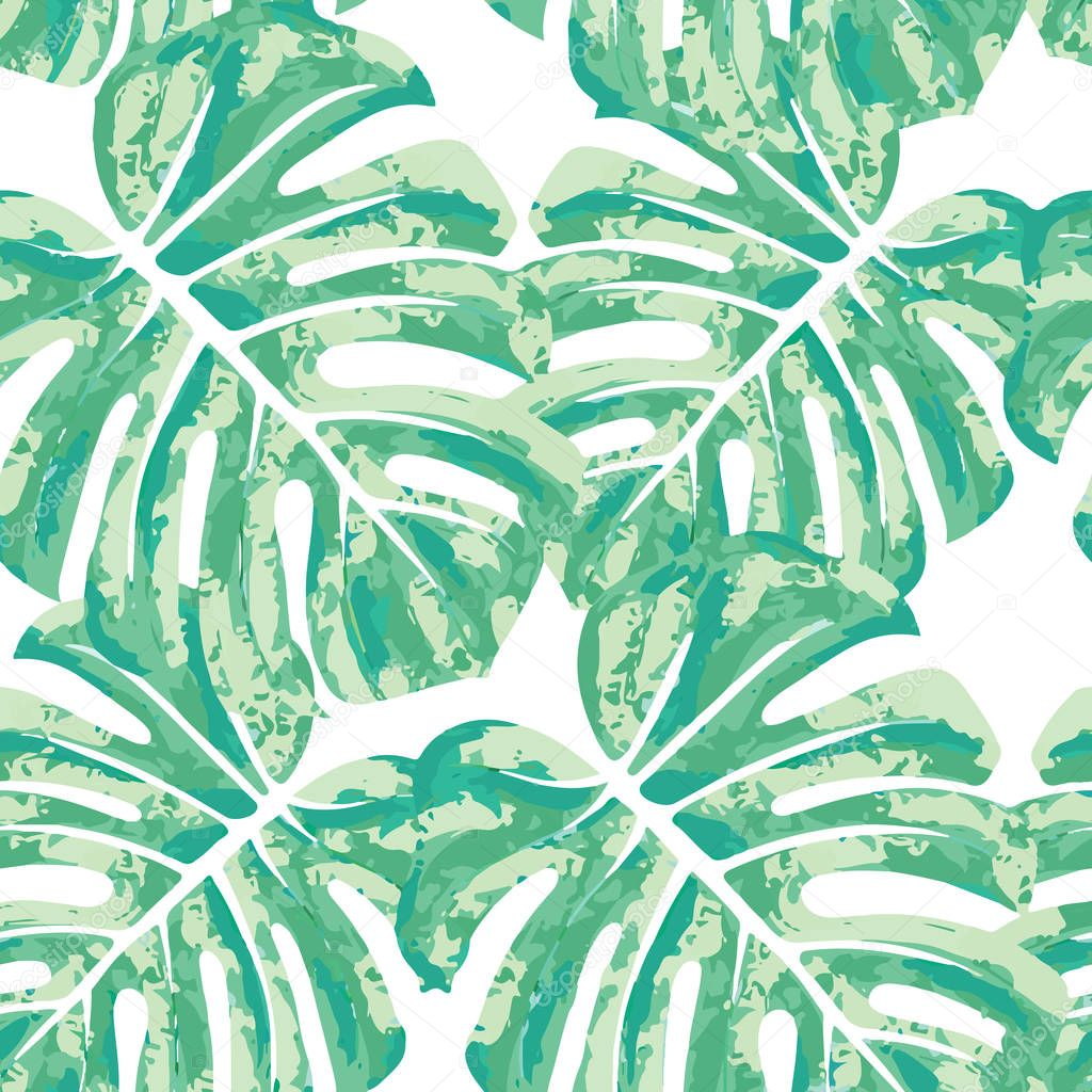 Vector seamless pattern with monstera leaves.