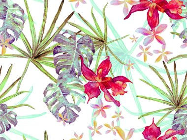 Orchid Seamless Pattern. Swimwear Print with Orchids, Palm Leaves. Exotic Hawaiian Design. Thailand Upholstery Texture. Blue and Red Watercolor Floral Background. Tropical Summer Print. stock vector