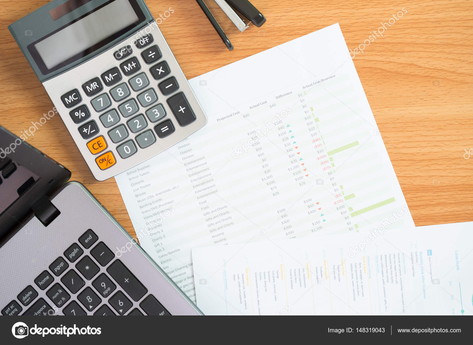 financial management concept calculator and documents of personal