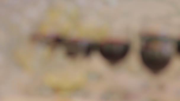 Červené a bílé víno v brýlích. Nosič focus zastřelil