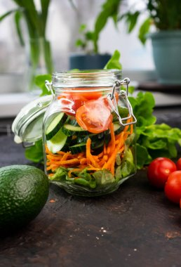 selective focus, vegetarian salad in a jar
