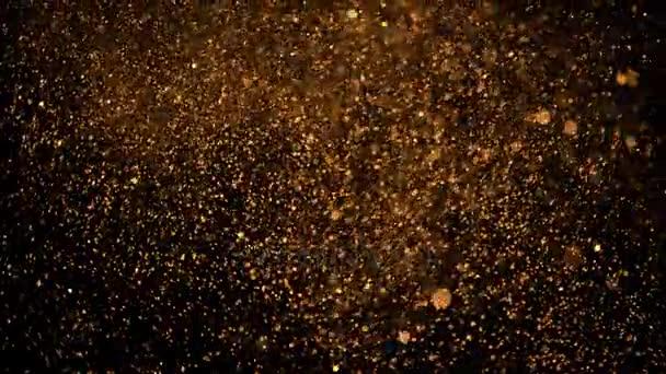 gyönyörű animáció sokszínű repülő villódzó részecskék szóródott a fekete háttér