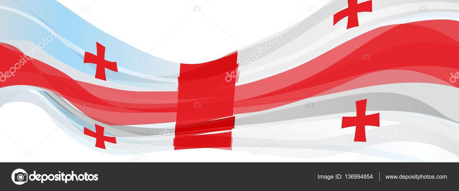 Bianco Con Croce Rossa Bandiera Della Georgia Foto Stock Salivit