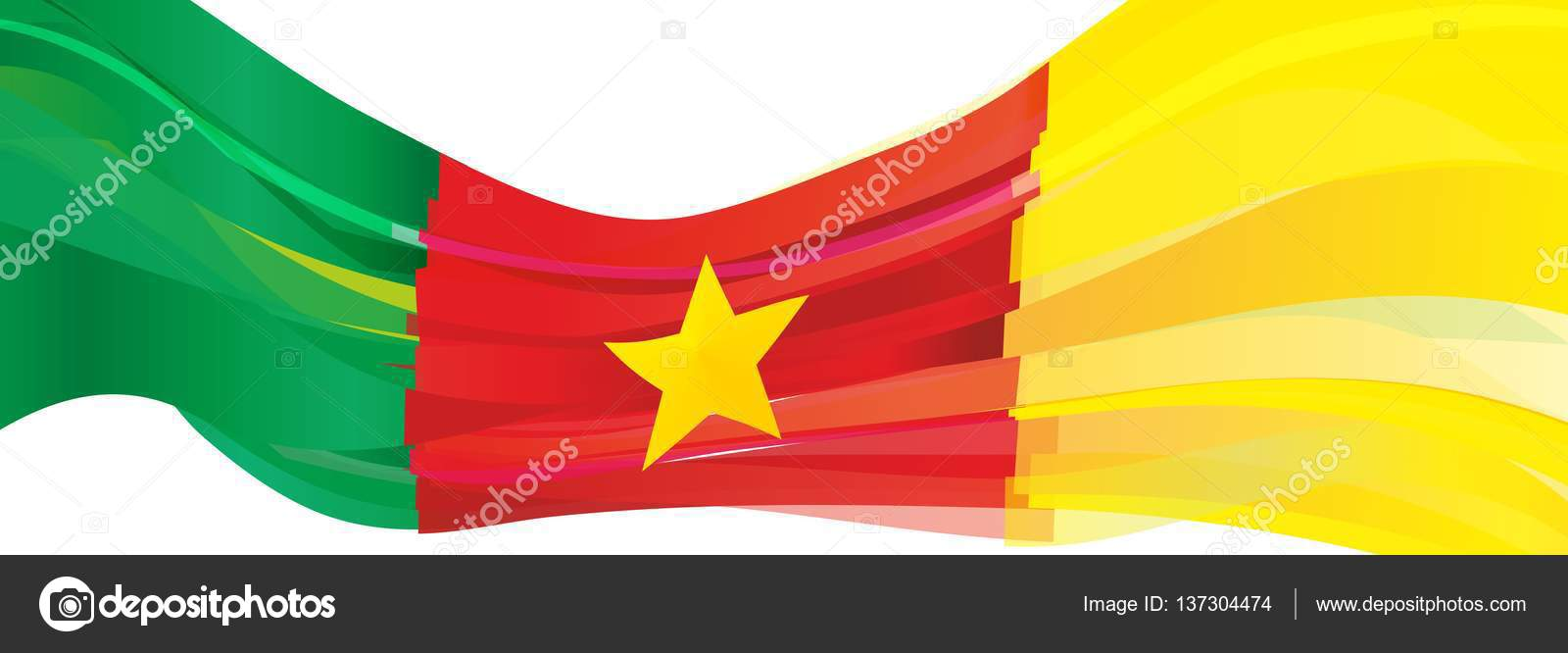 green red yellow star flag of the republic of cameroon — stock photo