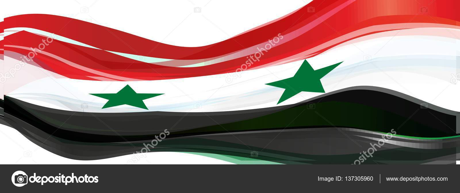 Red White Black With Green Stars On The Flag Of The Syrian Arab