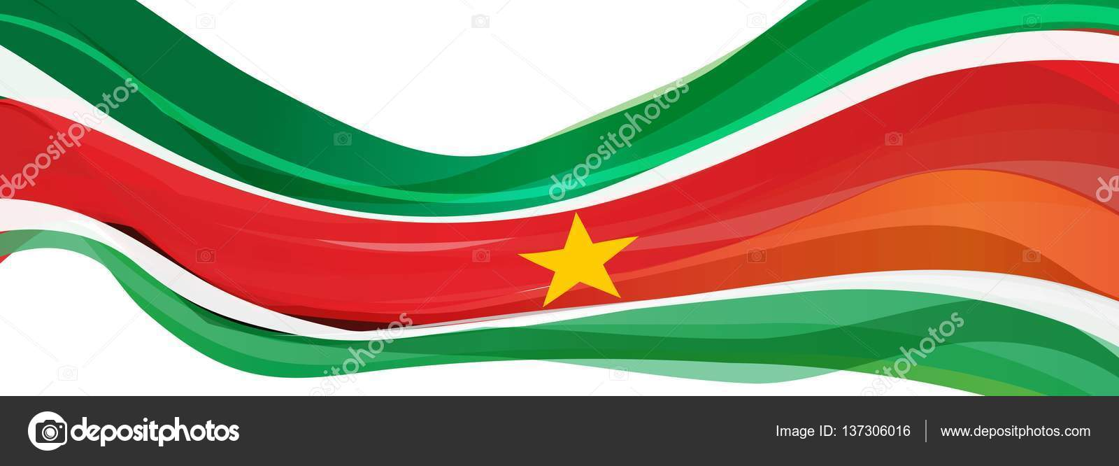 Green White Red Striped With A Yellow Star Flag Of The Republic Of
