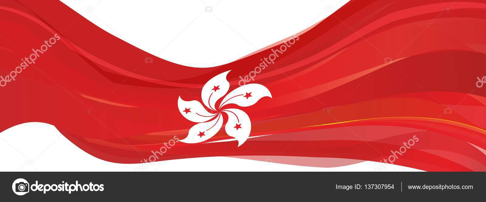 Red flag with a white flower of the chinese city of hong kong red flag with a white flower of the chinese city of hong kong stock photo mightylinksfo