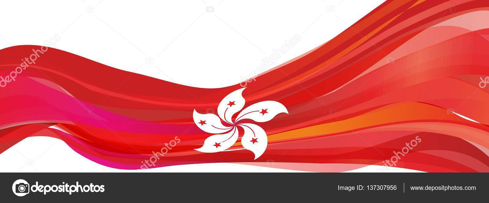 Red Flag With A White Flower Of The Chinese City Of Hong Kong