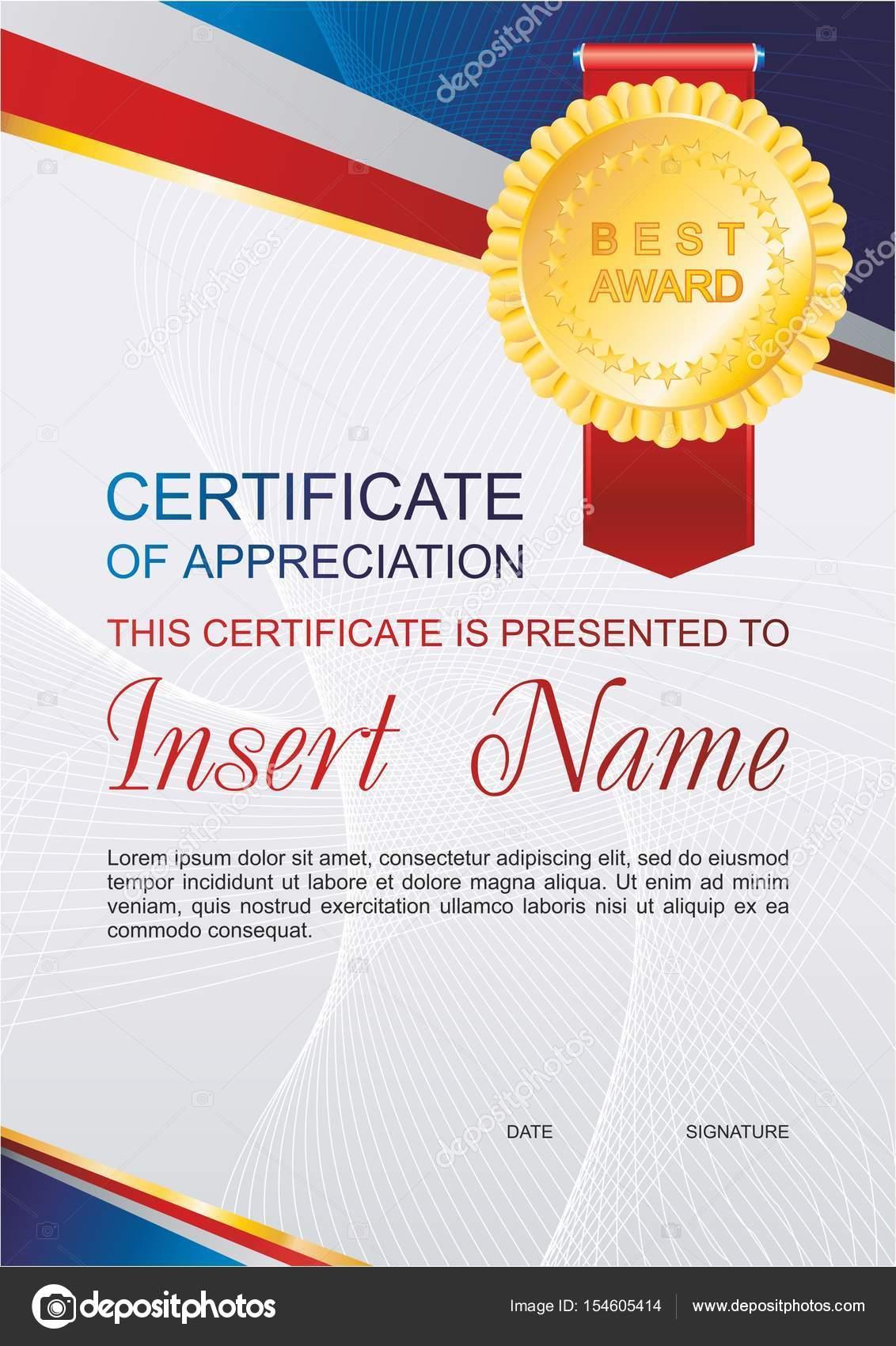 Vektor Vorlage Anerkennungszertifikat mit bunten Muster ...