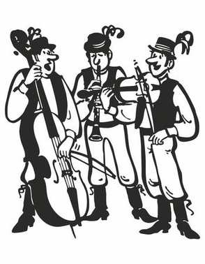 musicians in traditional costumes playing tunes on musical instruments. Vector music poster background