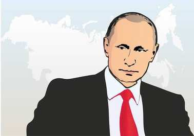 Man very similar to Putin, President of Russia, vector illustration