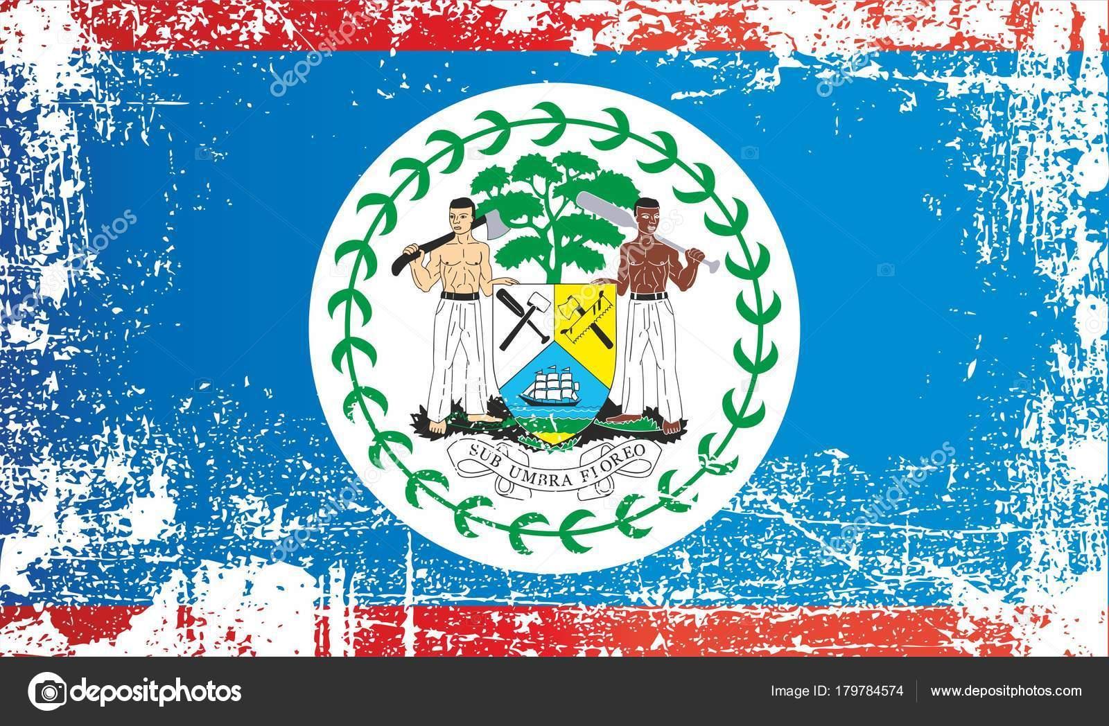 flag belize central america wrinkled dirty spots can used design