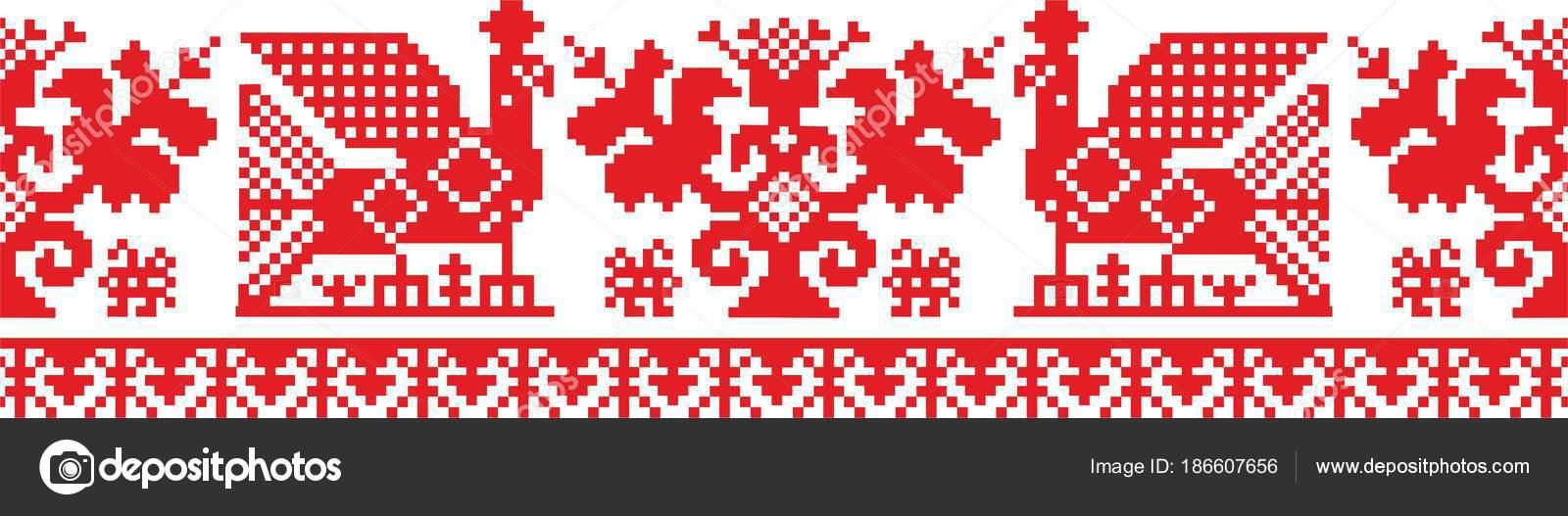 Patrón Vector Ornamento Eslavo Ruso Ucraniano Bielorruso Patrón Para ...