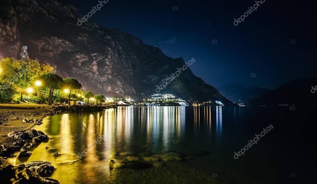 illuminated town Limone sul Garda