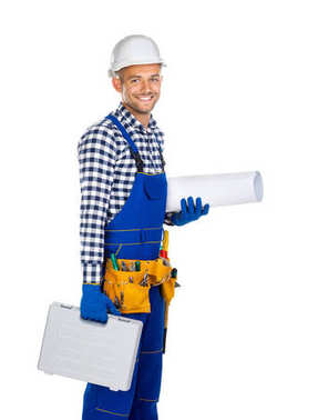 happy construction worker with toolbox