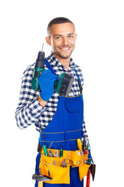 Happy smiling construction worker with drill