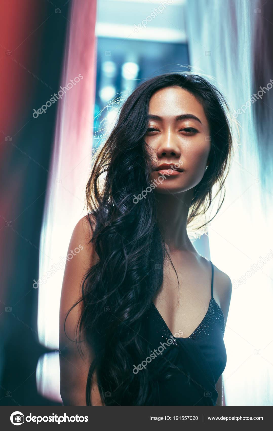 Beautiful Asian Woman Black Dress Posing Studio Pretty ...