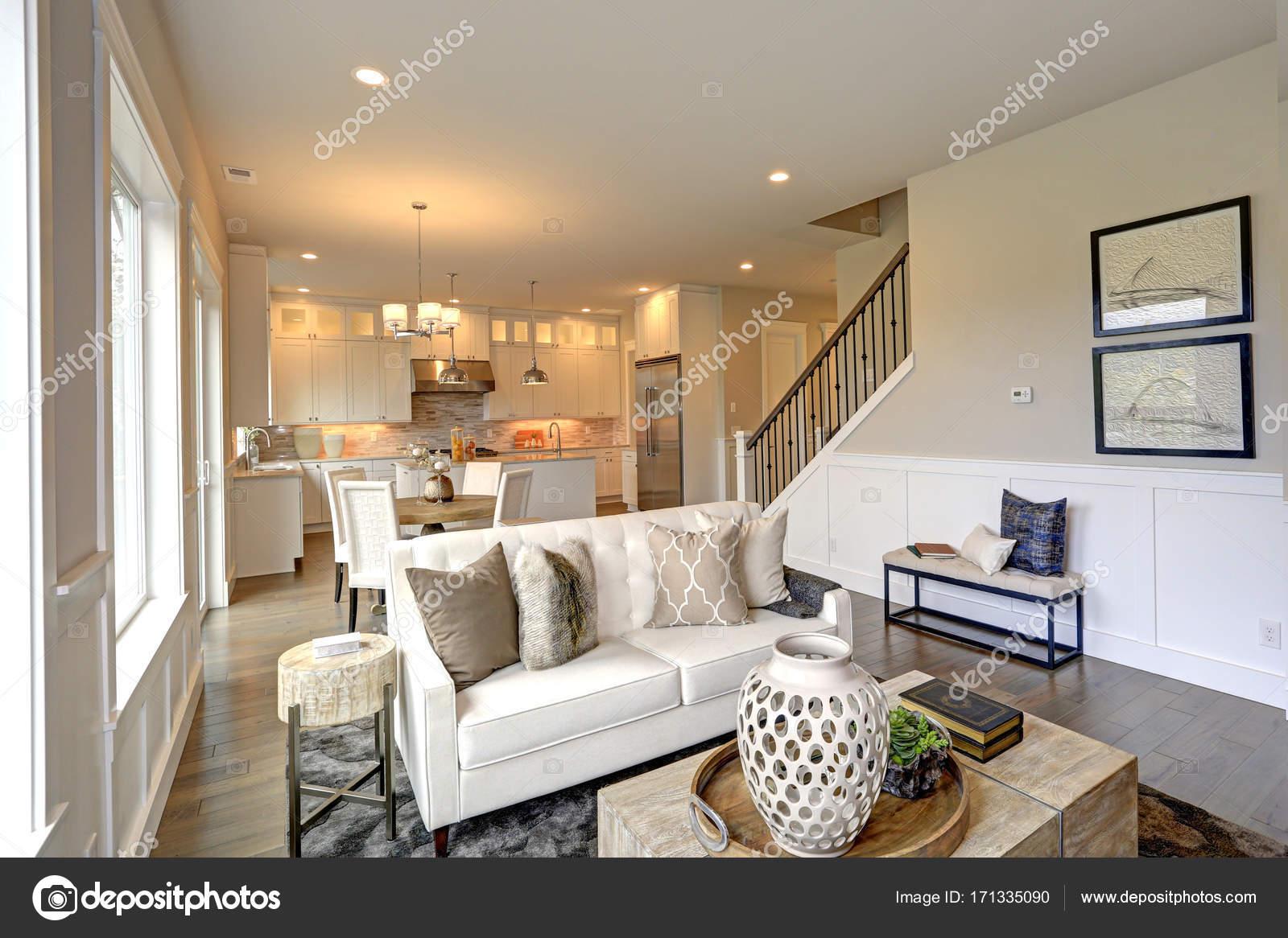 Luxe woonkamer beschikt over zacht gekleurde tan muren — Stockfoto ...