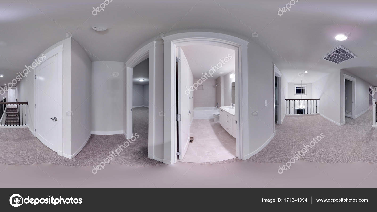 Ordinaire 3d Illustration Spherical 360 Degrees, Seamless Panorama Of The Bathroom Interior  Design. Modern Luxury New Construction House In Bellevue, Washington State  ...
