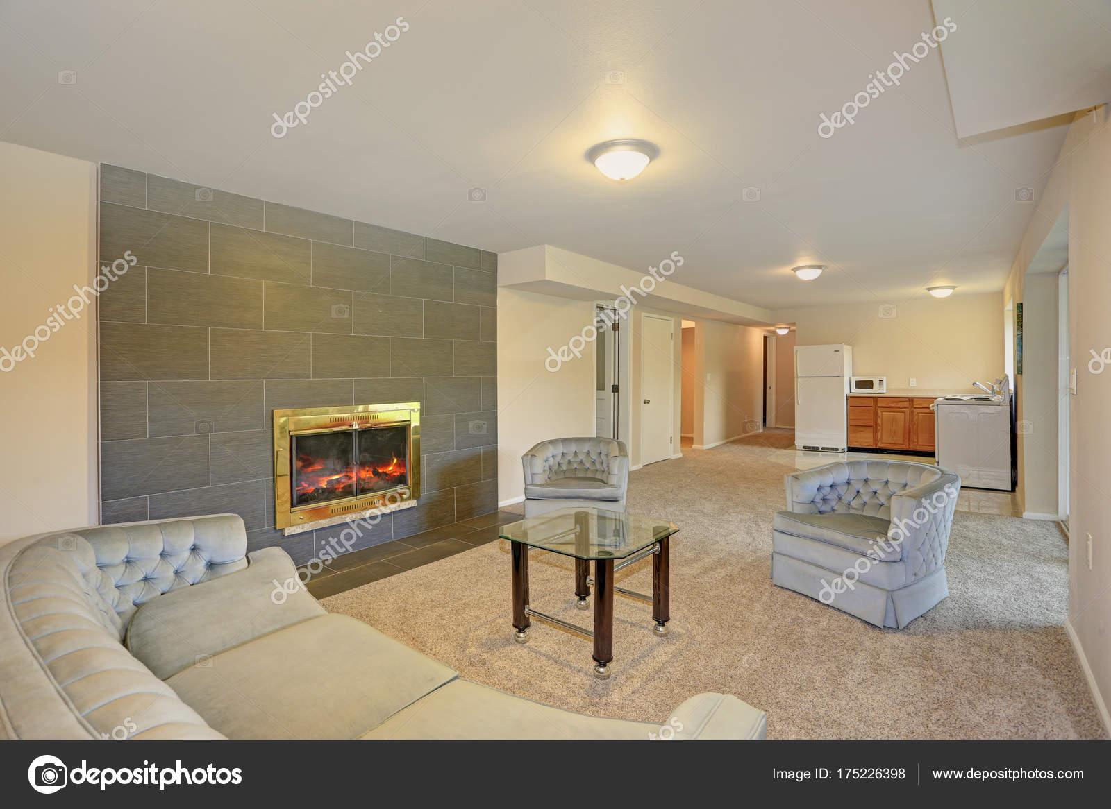 Minimalistisches Wohnzimmer Design In Grau Und Beige Farben U2014 Stockfoto