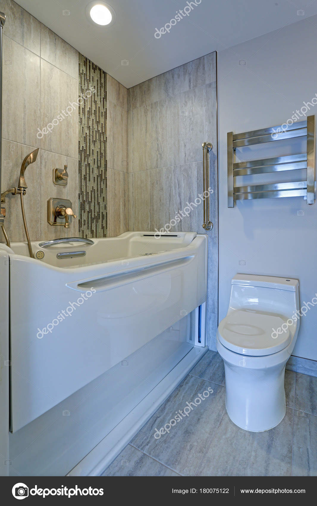 Contemporary Bathroom Design Boasts A Luxury Jacuzzi Walk In Bathtub  Flanked By Subway Tiled Interior Accented With Wide Glass Mosaic Tiled  Vertical Stripe ...