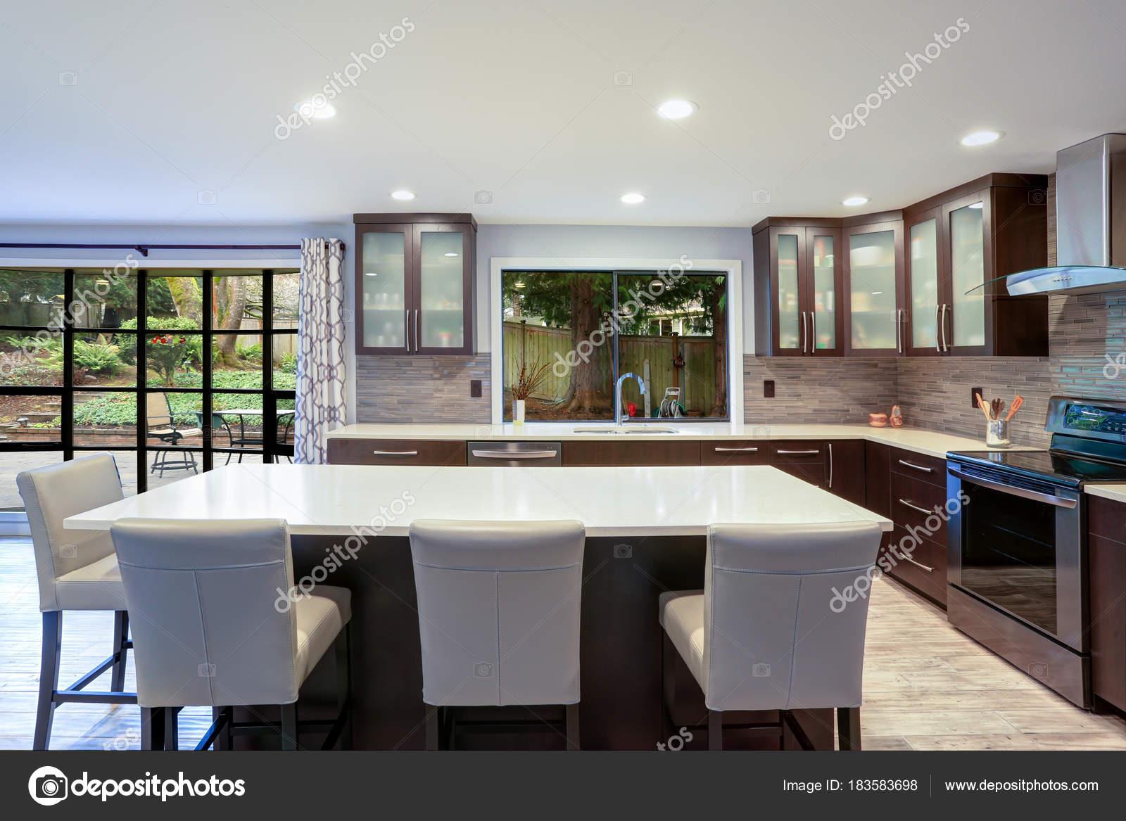 Aktualisierte Moderne Küche Innenraum Mit Weißen Zähler Und Dunkel Braun  Schränke Mit Luxus Edelstahlgeräten Ausgestattet.